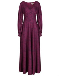 Lindy-Bop-039-Juno-039-Purple-Paisley-Vintage-1970s-Boho-Hippy-Maxi-Dress-BNWT-Size-12