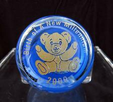 "CAITHNESS SCOTLAND ART GLASS 2 1/2"" MILLENNIUM TEDDY BEAR PAPER WEIGHT 2000"