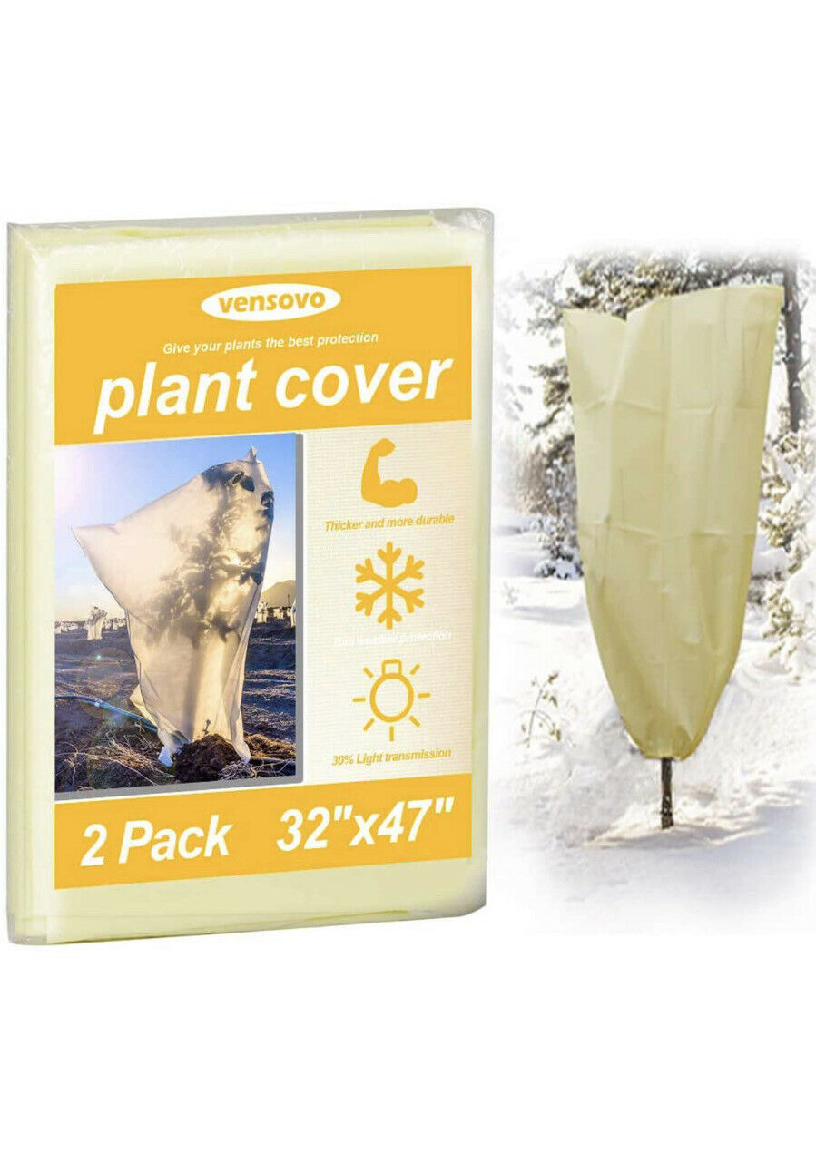 2 Pack Plant Covers Freeze Protection - 1.77oz 32x47 inch Rectangle Frost Pro...