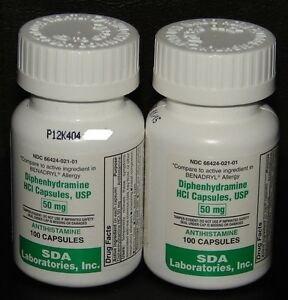 SDA Diphenhydramine 50mg Capsules Sleep Aid & Antihistamine 100ct -2 Pack