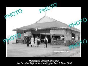 OLD-LARGE-HISTORIC-PHOTO-OF-HUNTINGTON-BEACH-CALIFORNIA-THE-PIER-CAFE-c1920