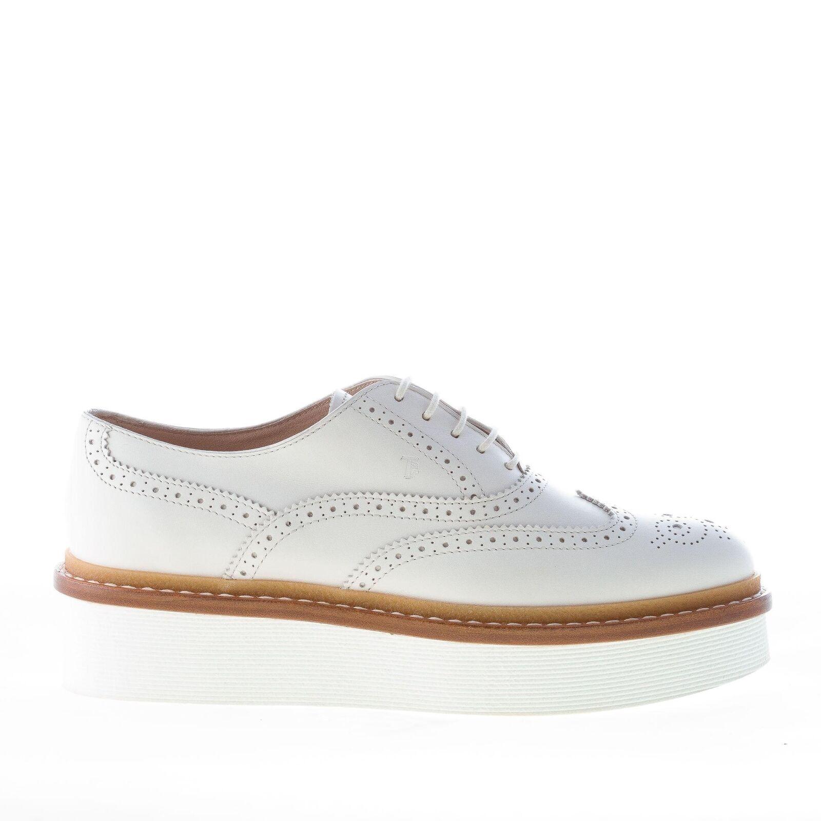 TOD'S women shoes White leather laced brogues oxford with platform platform platform 6fbde7