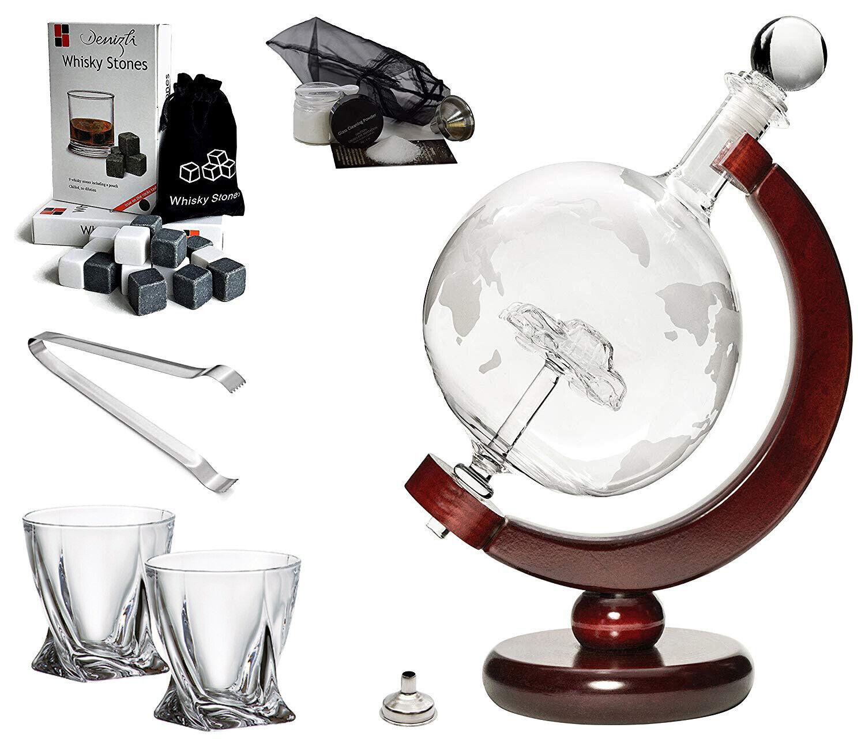 50 Oz 'Car' Handmade Whisky Etched Globe Decanter Mega Set with Diamond Glasses