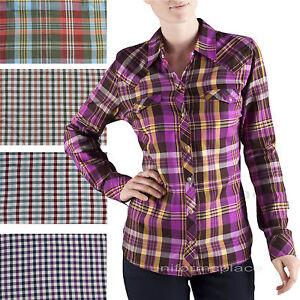 Women-Dickies-Long-Sleeve-Shirts-HERRINGBONE-Plaid-Pocket-Snap-Button-FL051