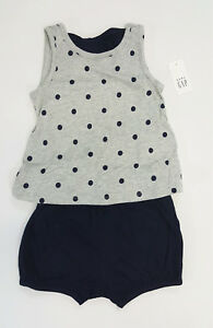 NWT-Baby-Gap-Girls-3-6-12-18-Month-Gray-Polka-Dot-Bow-Top-amp-Navy-Bubble-Shorts