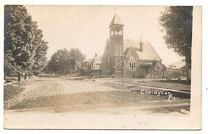 RPPC-Church-COVINGTON-PA-Vintage-Tioga-County-Pennsylvania-Real-Photo-Postcard