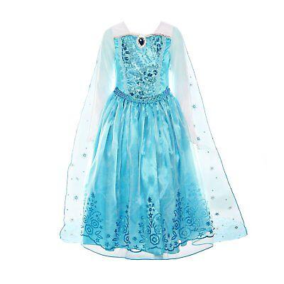 ELSA DRESS Princess Costume Girls Sequin Long Sleeve Dress up