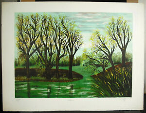 Odette-Caly-1914-1993-034-Silence-Print-Signed-c1970-22-13-16in-Trees-Nature