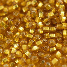 """Murano Italian Vtg  Glass Seed Beads Size 10/0 """" S/L GOLD """" 50 Grams Loose"""