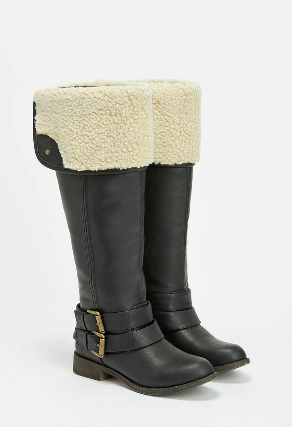 Just Fab CORNELIA Black Faux Sheepskin Lined Boots rrp UK 3.5  LG01 63 SALEw