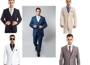 Clothing, Shoes & Accessories Suits & Suit Separates Men's 3 Piece Business Pinstripe Notch Lapel 2 Button Jacket Classic Fit Suit