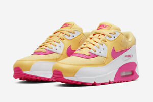 Nike Air Max 90 Running Shoes Topaz Gold White Fuchsia 325213 702 Womens Size
