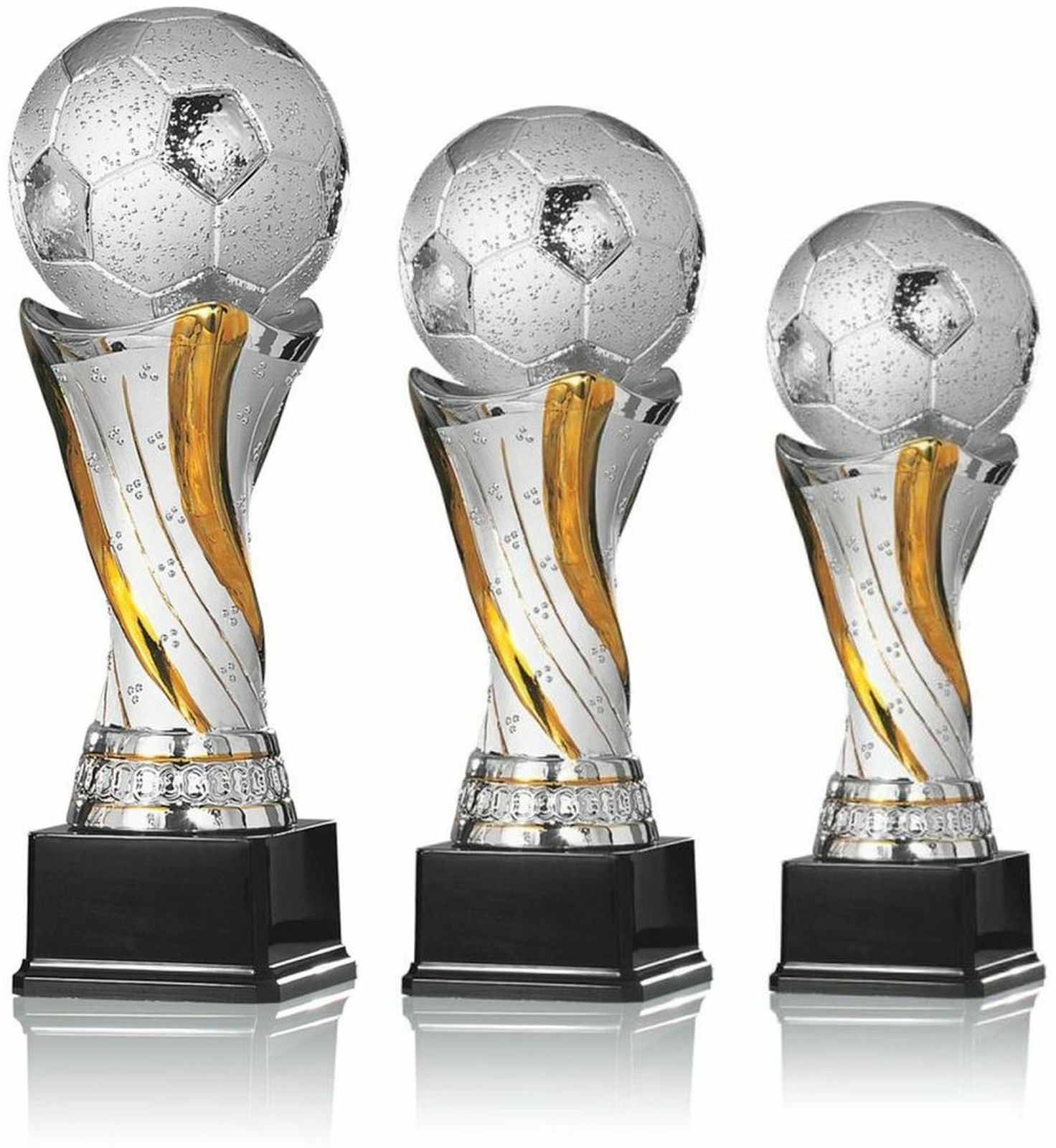 3er Serie Pokal Fußball Trophäe 28-36 cm Pokal Serie Weltpokal Fußballpokal 47044e