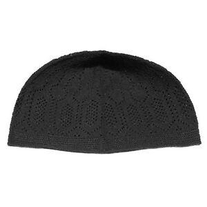 1cca21394f6 Black Cotton Open-Knit Turkish Muslim Islamic Kufi Hat Taqiya Takke ...