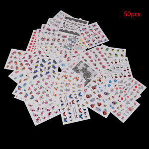 3D-Nail-Art-Transfer-Stickers-50Sheets-Flower-Decals-Manicure-Decoration-Tips-LE