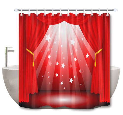 Red Stage Curtain Cinema Bathroom Mat Waterproof Fabric Shower Curtain Liner