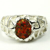 Created Red Brown Opal, 925 Sterling Silver Men's Ring, Handmade •sr168