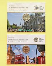 2010 £1 CITIES SERIES Celebrating London & Belfast - BU Coin Packs VERY RARE