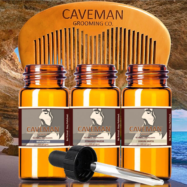 Free Comb High Quality Goods Aftershave & Pre-shave Hand Crafted Caveman® 3 Scents Manly Beard Oil Beard Conditioner Hair Care & Styling