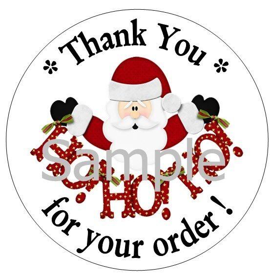 CHRISTMAS SANTA HO HO - THANK YOU STICKERS - 10 SHEETS - 300 LABELS - SEMI GLOSS