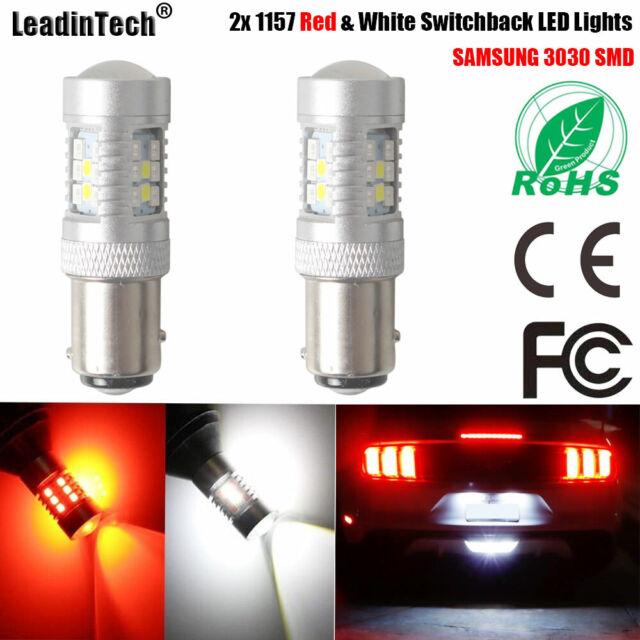 2x 1157 Switchback LED Turn Signal Lights Red & White BAY15D Dual Color LED Bulb