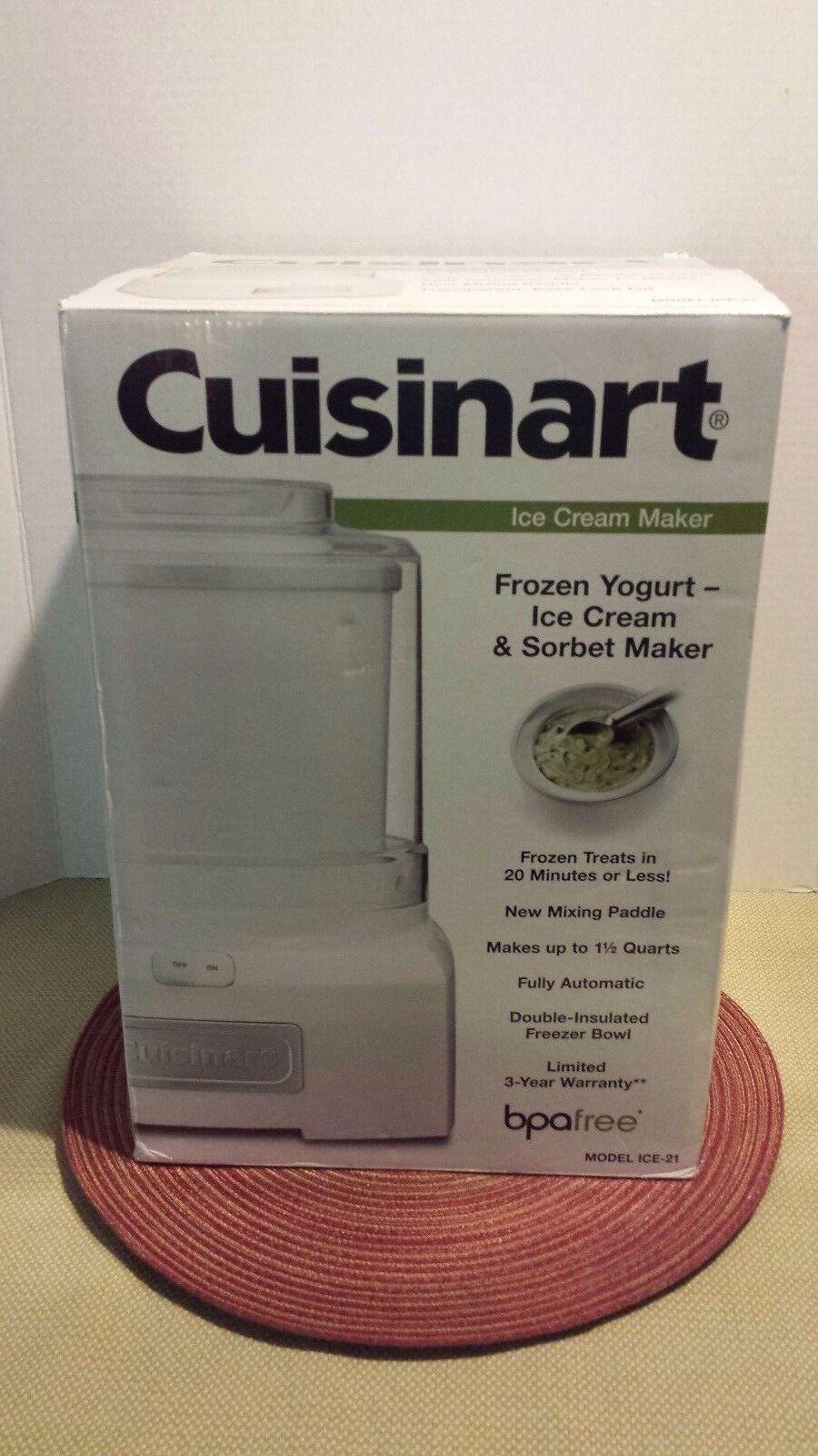 Cuisinart ICE-21 Yogourt Glacé Ice Cream & Sorbet Maker-Blanc  NEUF