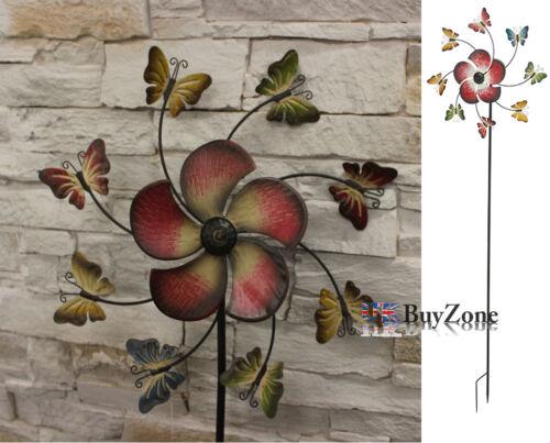 Jardin en métal moulin à vent papillon fleur mobile ornement décoration vent spinner