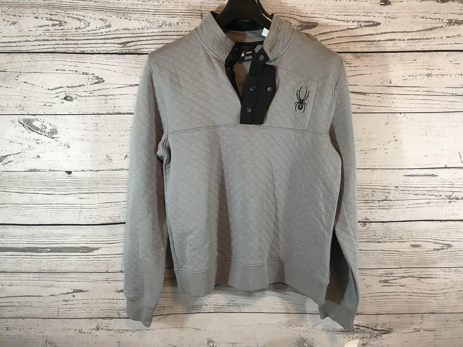 Spyder  Herren grau 1/4 Snap Button Pullover Sweater Größe Medium NWT NEW MSRP 149