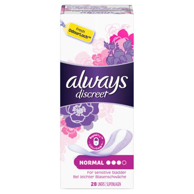 84 Stück Always Discreet Inkontinenz Liner   Multipack 3 Packungen x 28 Stueck