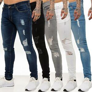 Homme Fashion Skinny Stretch Jeans Vieilli Déchiré Jeans Freyed Denim Pantalon