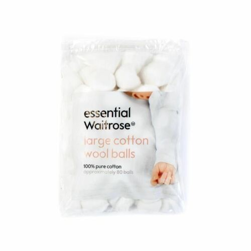 Baby Large Cotton Wool Balls essential Waitrose 80 per pack Pack of 2