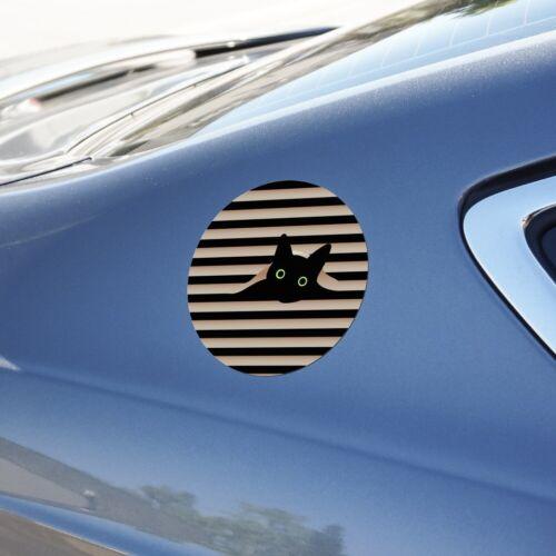 Black Cat In Window Automotive Car Refrigerator Locker Vinyl Circle Magnet