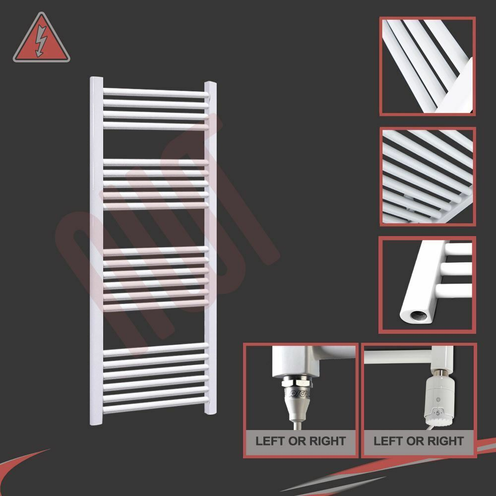 600mm(w) x 1200mm(h) Pre-filled Electric 300W Straight Weiß Towel Rail Radiator