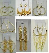 Fashion Jewelry lots 10 pairs  Big Dangle Gold Plated  Earrings wholesale #003