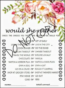 image relating to Would She Rather Bridal Shower Game Free Printable called Data around Floral Bridal Shower Would She In its place Printable Video game