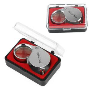 30X-Fach-Vergroesserungsglas-Juwelier-Uhrmacher-Lupe-21mm-Einschlaglupe-mi-FMS