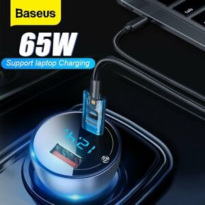 Baseus 65W Car Charger QC4.0 USB Type C Fast Charging Adapter for iPhone MacBook