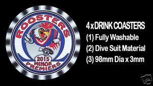 4-x-ROOSTERS-2015-MINOR-PREMIERS-FOOTBALL-RUGBY-LEAGUE-DRINK-COASTERS