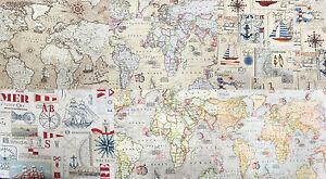 Vintage-World-Atlas-100-Cotton-Fabric-Maps-Nautical-Ships-Travel-140cm-Wide
