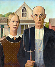 American Gothic A1+ by Grant Wood High Quality Canvas Print