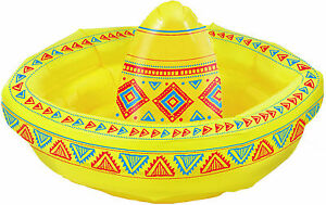 INFLATABLE-SOMBRERO-COOLER-X-2-FOR-MEXICAN-WESTERN-COWBOY-OR-POOL-PARTY