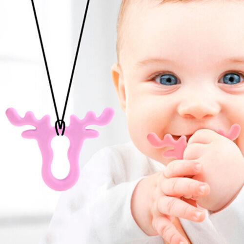 Silicone Teether Antlers Deer Teething Necklace Baby /& Mommy Beads 6A