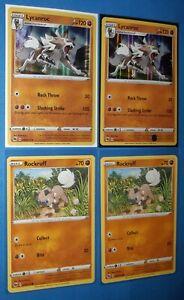 2x Lycanroc 030/073 holo, 2x Rockruff 029/073 Pokemon card Champion's Path NM