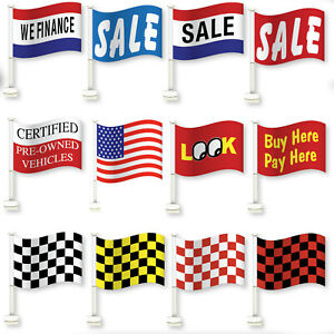 Car-Dealer-Window-Flags-You-Pick-From-12-Designs-Flag-Is-12-034-x-18-034-Clip-On