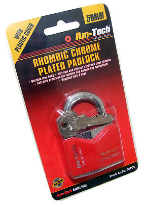 20mm 40mm Rhombic Chrome Plated Iron Padlock Durable Security Steel Shackle