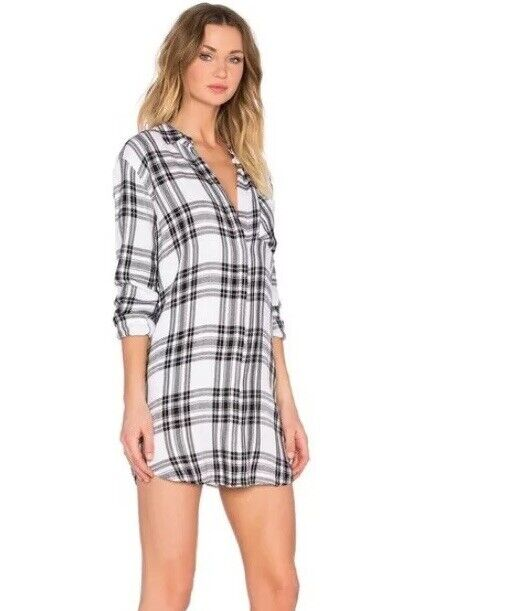 RAILS Sawyer Plaid Button Down Shirtdress Größe Large Tunic Flannel Navy Weiß