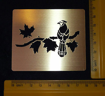 Brass/Metal/stencil/Oblong/Leaf/Leaves/Bird/Roosting/Emboss/USED ONCE