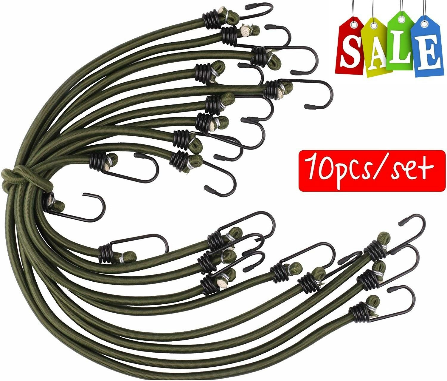 Savage Island 4 pack Heavy Duty Elastic Military Bungee Cords Olive Green