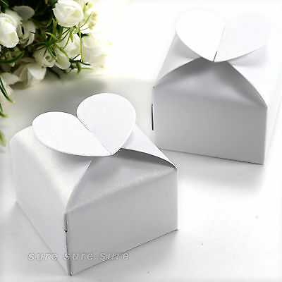 50 Pcs Heart Style Favor Gift Candy Boxes for Wedding X'mas Party White