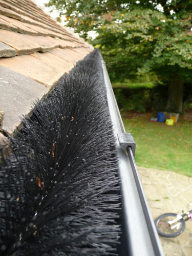 Pack 5 x 4m Length Black Hedgehog Gutter Brush Leaf Guard  20m 10 Year Guarantee